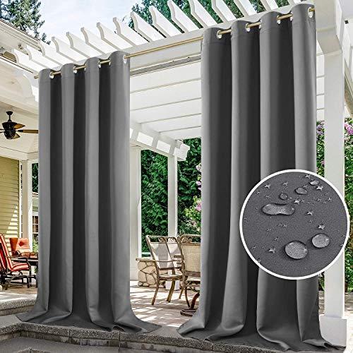 Cortinas impermeables al aire libre, cortinas opacas portátiles para dormitorio, porche, pérgola, patio, puerta corredera (gris, 1 pieza   52 x 96 pulgadas)