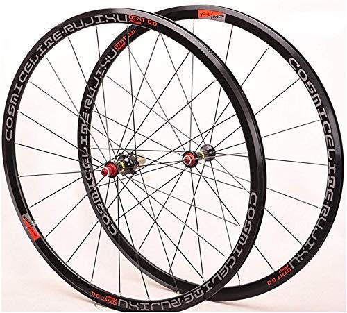 Rueda de Bicicleta Bicicleta de Carretera 700C Juego de Ruedas de Bicicleta Rueda Trasera Delantera Ultraligera Aleación de Aluminio de Doble Pared V-Brake 8/9/10/11 Velocidad Rodamiento Sel