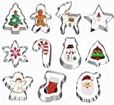 11 Pcs Christmas Cookie Cutters, Hibery Holiday Cookie Cutters Christmas, Snowflake, Christmas Star...