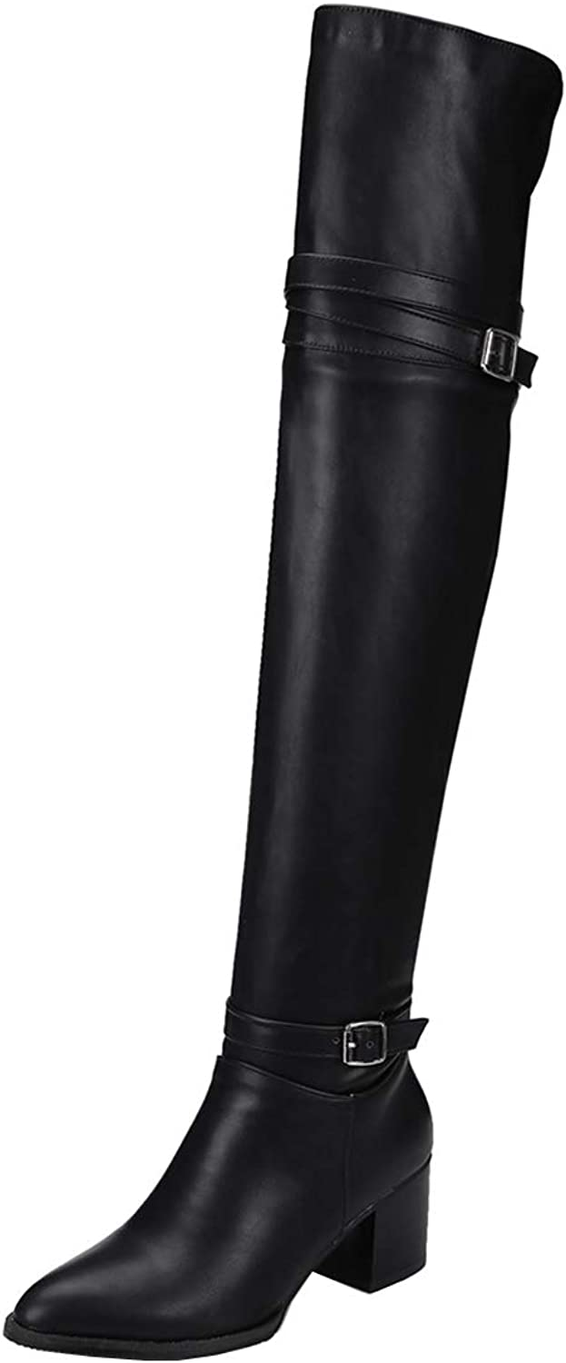 Vitalo Womens Over The Knee Chunky Heel Pointed Thigh High Boots with Buckles