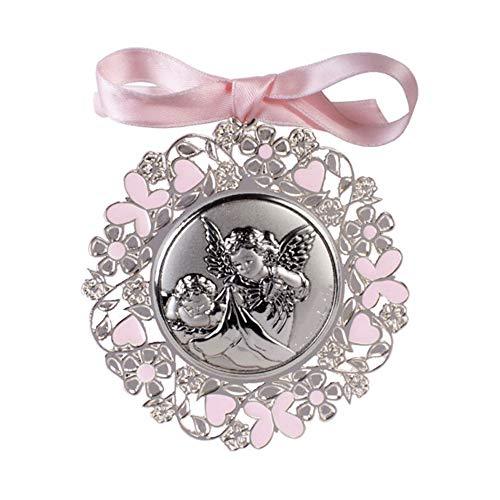 DOCOLASTRA Medaglia personalizzata per culla o passeggino Angelo della Guardia, rifinita in metallo e argento bilaminato, smaltata in rosa e verniciata.