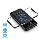 Portable Wireless Charger, Hokonui Wireless Portable Charger 10000 mAh Power Bank, 10W Fast Wireless Battery Pack 4 Outputs &3 Inputs, QC 3.0 & PD 3.0 for Cell Phone, iPhone, iPad,Samsung and More