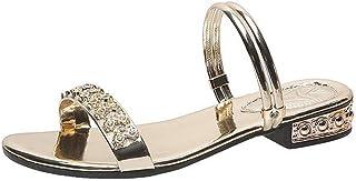 Zomer Dames Sandalen Mode Strass-bling-pumps Comfort Instappers Open Teen Flats Luxe Feestelijke Strandschoenen