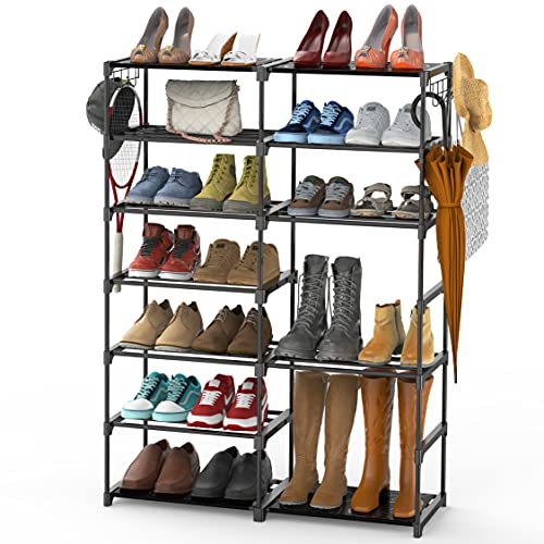 Auledio Stackable Shoe Rack Organizer with Hanger, 7 Tiers Shoes Tower Shelf Boots High Heels Slippers Organizer Storage for 30-40 Pairs