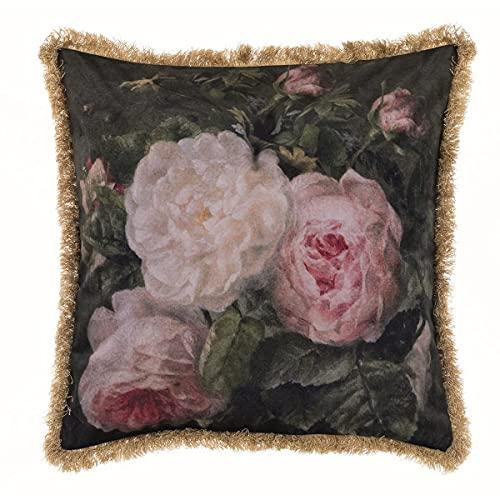 Blanc Mariclò Collezione Affresco Cuscino Velluto Stampato con Frangia 50 x 50 cm