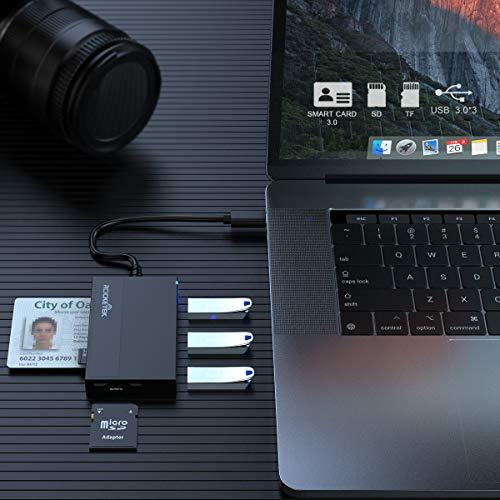 Rocketek DNI Electrónico Lector - Lector de Tarjetas USB C SD/TF - con 3 USB 3.0 y admite Tarjetas Inteligentes y TFCards, Sdcard, Micro SD - Compatible con Windows/Mac/Linux - Concentrador USB 3.0