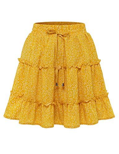 Bbonlinedress Damen Rock Röcke Sommerrock Minirock Kurz Röcke Skirts im Sommer A-Yellow Dot S