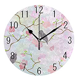Birds and Flowers Silent Round Wall Clock, Non-Ticking Decorative Battery Operated Quiet Clock for Living Room Home Office School Kitchen,Small, 9 Incl Desk Clock