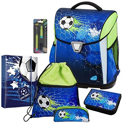 Soccer Champ - Fußball Football - Schulranzen-Set TOOLBAG Basic Schneiders 6teilig mit HEFTBOX- 78316-070 - FÜLLER Gratis