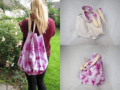 Tasche groß, Strandtasche, hobo Bag, Wendetasche, genäht aus Leinen und Baumwolle