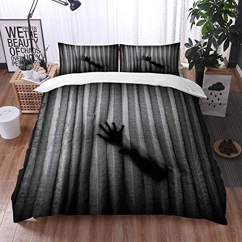 Mingdao bedding - Duvet Cover Set, Funny Black Gray Scary Hands Silhouette Shadow Ombre Pattern,Microfibre Duvet Cover Set 135 x 200 cmwith 2 Pillowcase 50 X 80cm