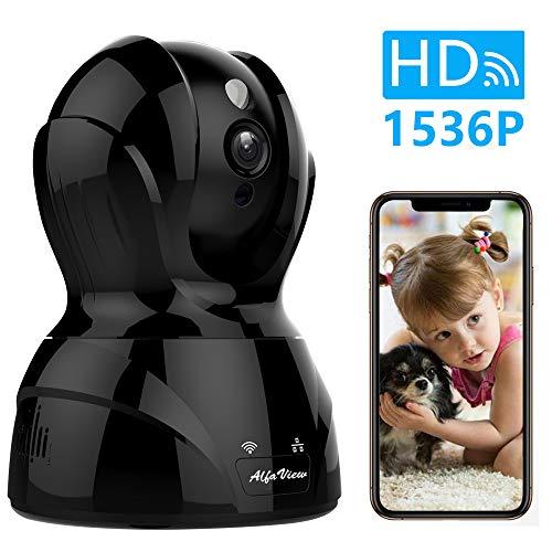 WLAN IP Kamera, AlfaView HD 1536P WiFi Überwachungskamera mit Nachtsicht, Bewegungserkennung, Zwei-Wege-Audio, Home und Baby Monitor Innenkamera Unterstützt Fernalarm und Mobile App Kontrolle