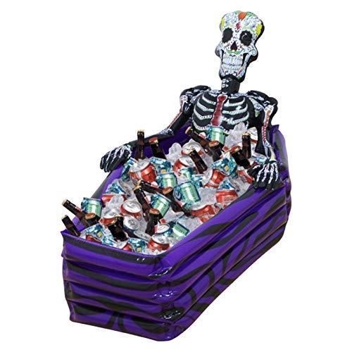 YEZIB Cubo de Hielo Grande al Aire Libre Inflable Esqueleto ataúd Bebe Enfriador de Hielo Cubos de Hielo cráneo PVC Juguetes inflables de Halloween Piscina Accesorios para Fiestas, Bar y Bar.