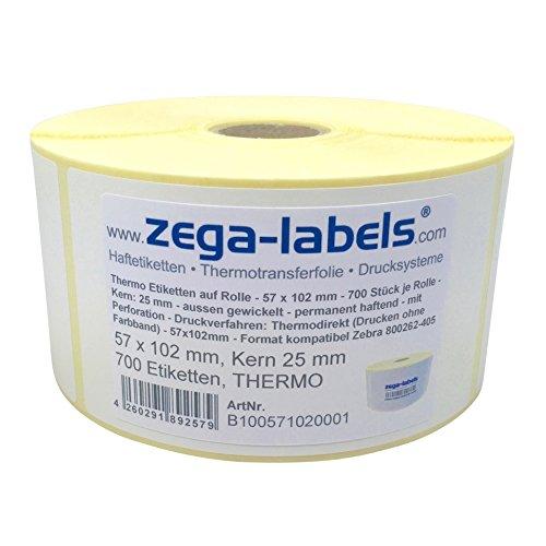 Thermo Etiketten auf Rolle - 57 x 102 mm - 700 Stück je Rolle - Kern: 25 mm - aussen gewickelt - permanent haftend - Druckverfahren: Thermodirekt (Drucken ohne Farbband)
