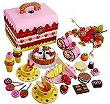 Juego de té Cubiertos de Pastel de Fresa para niños Europeos Caja de Juguetes Mariposa Mini casa de muñecas para niños Simulación Juego de té de Madera Fiesta del té de la Tarde, Regalo