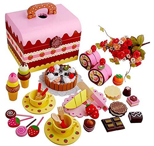 Juego de té europeo Cubiertos de pastel de fresa para niños Caja de juguetes Mariposa Mini casa de muñecas para niños Simulación Juego de té de madera Fiesta del té de la tarde,Juego de té de regalo