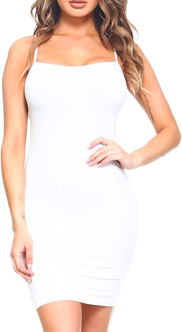 ICONOFLASH Women's Nylon Seamless Long Cami Slip Dress, Plus Size and One Size