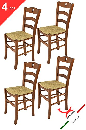 t m c s Tommychairs - Set 4 sedie Cuore per Cucina e Sala da Pranzo, Robusta Struttura in Legno di faggio Verniciata Color Noce e Seduta in Paglia