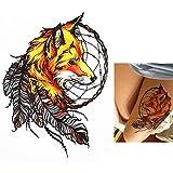 Tatuaje falso de zorro, atrapasueños HB358, multicolor