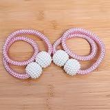 Avmy Cortina Tie Backs 2pcs / Set Magnetic Pearl Ball Soporte para Cortina Hebilla Cortinas con Cuentas Tie Backs Accesorios, Rosa