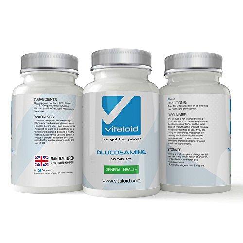 Glucosamine 1000mg Vitaloid - AYUDA A TUS ARTICULACIONES Y CARTÍLAGOS - Suplemento vitamínico de Glucosamina que ayuda a las articulaciones y cartílagos - Suplemento Glucosamina de Alta Potencia - La Glucosamina cuida las articulaciones y ayuda a mejorar el dolor articular. El Sulfato de Glucosamina te ayuda a construir y fortalecer el cartílago. MÁS EFECTIVO QUE EL COLÁGENO, EL CUERPO ABSORBE EL 100% DE LA GLUCOSAMINA QUE INGIERE. La Glucosamina te ayuda en el cuidado de las Articulaciones.