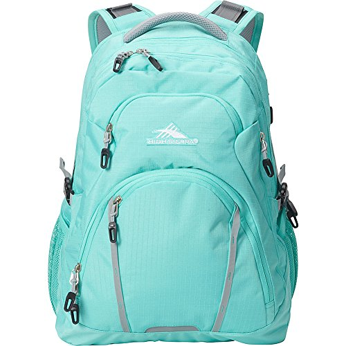 High Sierra Emery Laptop Backpack -17 Inch - S-Shaped And Padded Shoulder Straps with Suspension System - (Aquamarine/Ash)