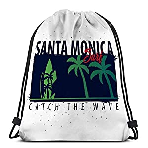 51Bt8vPGuJL. SS300  - Light Ing Gimnasio Mochilas con cordón Bolsas de Hombro Santa Monica Surfing Graphic Palms Print Santa Monica Surfing…