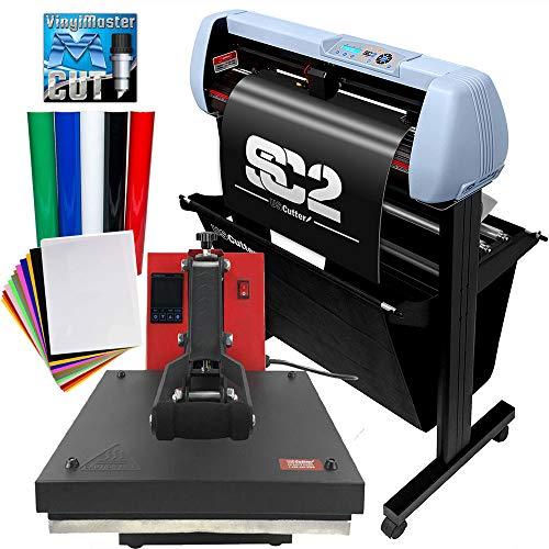 USCutter Bundle: 34' SC2 Vinyl Cutter w/Catch Basket + 15' x 15' Heat Press Machine Htv Sign Vinyl