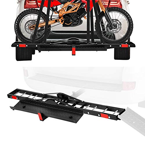 CARSTY Motorcycle Carrier 500 LBS Hich Mounted, Heavy Steel Scooter Dirt Bike Carrier, Anti-tilt Locking, Stable Motorcycle Carrier Rack, Quick-Assembled, Easy-Used, Anti Wobble