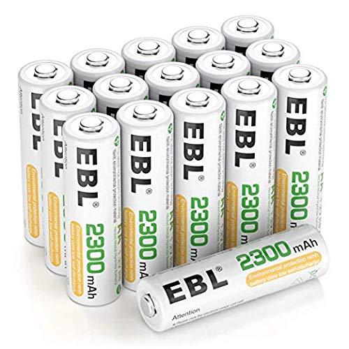 EBL Akku AA Mignon 2300mAh 1,2V NiMH 16 Stücke wiederaufladbare Batterien für Geräte mit hohem Stromverbrauch