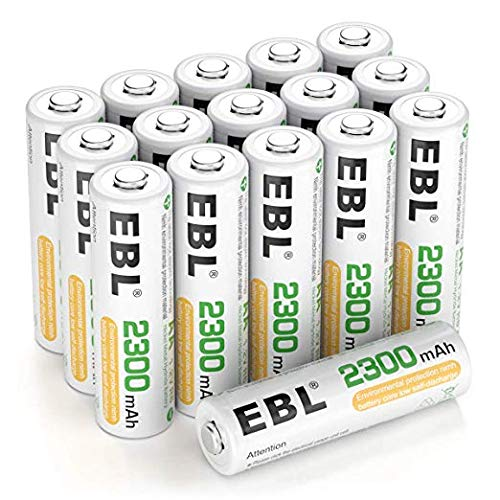EBL Akku AA 2300mAh 16 Stück - Typ NI-MH Mignon wiederaufladbare AA Batterien geringe Selbstentladung