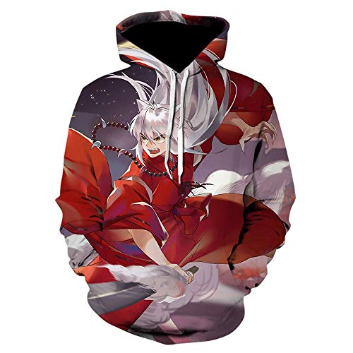 Nube Roja Ninja Akagi impresión 3D con capucha Negro de Harajuku con capucha Casual Ropa de deporte fresco de Top suéter blanco (Color : WE 1176, Size : 4XL)