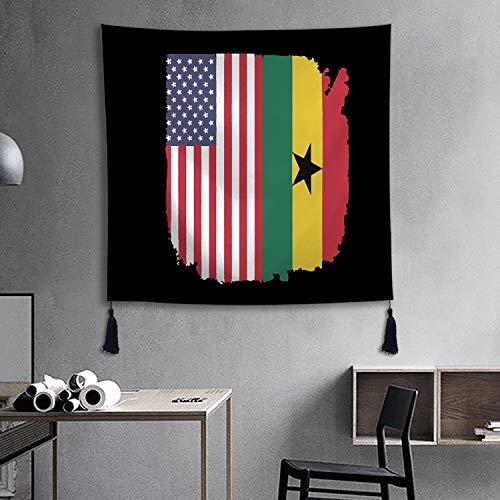 XREE Tapisserie, Wandkunst, zum Aufhängen, Heimdekoration, für Wohnzimmer, Schlafzimmer, Ghana Amerikanische Flagge