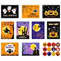 Set of 18 Halloween Greeting Cards Halloween Design Cards Halloween Note Cards with Envelopes and Halloween Stickers, 9 Halloween Designs