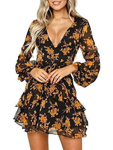 HenzWorld Lady Boho Casual Mangas de Linterna Falda Corta Volantes Dobladillo Mini Falda Cuello en V de Mujer Floral con Cinturón Vestidos Marrón Talla XL