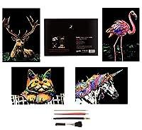 スクラッチアート A4サイズ 4枚入 キッズ 大人向けのスクラッチ 削るだけで美しいアート 面白い塗り絵 動物 虹絵 猫 ユニコーン エルク フラミンゴ スクラッチ極細ペン付き 部屋飾り ホームデコレーション クリエイティブギフト 21*29cm