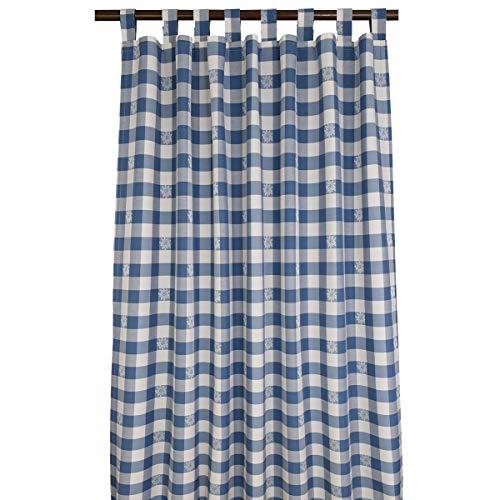 SeGaTeX home fashion Landhaus-Vorhang Karo mit Edelweiß blau-weiß Deko-Schlaufenschal mit 8 Schlaufen Übergardine
