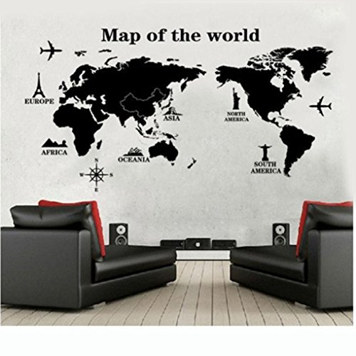 Wall Sticker, DDLBiz 'Viaggiare In Tutto Il Mondo' Mappa del Mondo Adesivi Murali, Camera da Letto Soggiorno Adesivi da Parete Removibili/Stickers Murali/Decorazione Murale