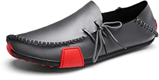 DADIJIER Summer Fashion Hand-made Genuine Leather Shoes For Men Lightweight Comfortable Flat Loafers Two Tones Anti-slip Round Toe Lace Up Anti-Skid (Color : Gray, Size : 43 EU)