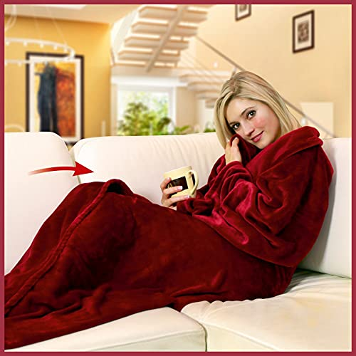 Walser 13682 Kuscheldecke mit Ärmeln, weiche Couchdecke, Flauschige Tagesdecke, warme Fleecedecke, Wohndecke, Rot 150x180cm