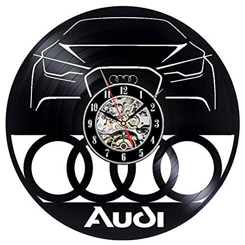 Reloj de pared para coche Audi, disco de vinilo, diseño moderno, 3d, decoración de coche, belleza, tienda, retro, reloj de pared, decoración del hogar