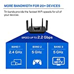 Linksys AC2200 Smart Mesh Wi-Fi Router for Home Mesh Networking, MU-MIMO Tri-Band Wireless Gigabit Mesh Router, Fast… 15 Provides up to 2,000 square feet of Wi-Fi coverage for 20+ wireless devices Works with existing modem, simple setup through Linksys App. Mobile device with Android 4.4 or iOS 9 and higher, Bluetooth preferred Enjoy 4K HD streaming, gaming and more in high quality without buffering