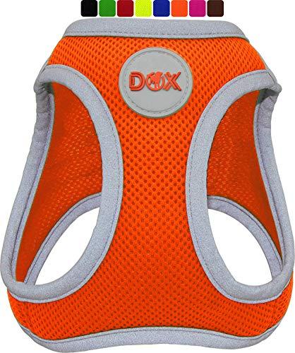 DDOXX Brustgeschirr Air Mesh, Step-In, reflektierend | viele Farben | für kleine, mittlere & mittelgroße Hunde | Hunde-Geschirr Hund Katze Welpe | Katzen-Geschirr Welpen-Geschirr | Orange, L