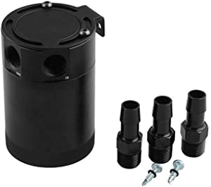 MADONG Car modification three-hole ventilating machine oil pot Exhaust waste oil recovery pot double side oil outlet  Color Silver three-hole oil pot oil words
