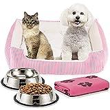 Cama Perro o Cama Gato 65x50cm con Comedero, Bebedero y Manta. Pack 4 en 1 Básico para Mascotas Pequeñas y Cachorros