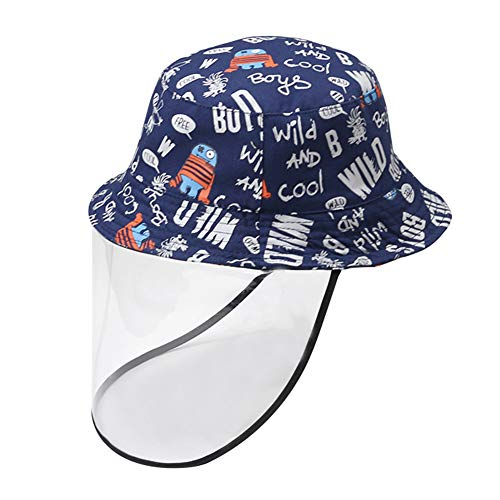 Babies Toddlers Cotton Bucket Hat with Detachable Clear Face Cover Outdoor Sun Hat Blue Robot