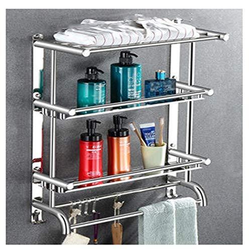 TTFFTT - Estante de 3 capas para baño de pared, estante de almacenamiento para inodoro, baño, toallero, espesado, estante de baño de acero inoxidable 304