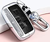 NIUHURU Car Bling Accessories for Land Rover Range Rover Evoque Discovery Freelander Car Bling Accessories for Jaguar XE XF XJ F-PACE Key Case Key Cover Key Chain Key Fob (Black, Metal Key Chains)