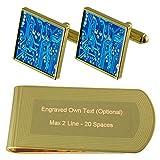 Circuito azul de la placa del ordenador tono Oro gemelos Money Clip grabado Set de regalo