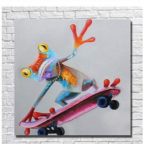 Gtfzjb HOT Verkoop Handgemaakte Olie Schilderen op Canvas Dieren Kikker Rijden een Scooter Wall Art Foto's voor Woonkamer Home DecorationFrame 50x70cm